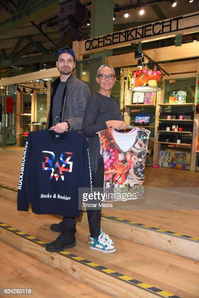 Jimi Blue Ochsenknecht and his mother Natascha Ochsenknecht present their new collections at Bikini on February 8 2017 in Berlin Germany