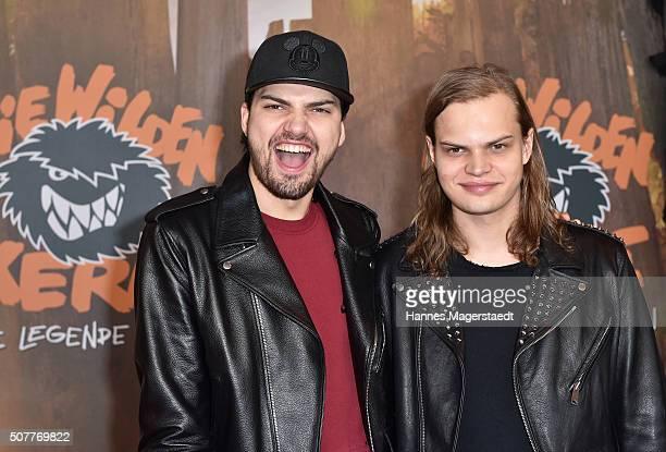 Jimi Blue Ochsenknecht and Wilson Gonzales Ochsenknecht during 'Die Wilden KerleDie Legende Lebt' Premiere at Mathaeser Filmpalast on January 31 2016...