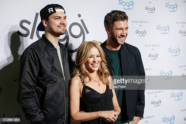 Jimi Blue Ochsenknecht Kylie Minogue and Jochen Schropp attend the Kylie Minogue For Sloggi Collection Presentation on April 23 2015 in Berlin Germany