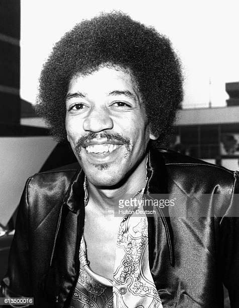 Jimi Hendrix after arriving at London's Heathrow Airport American musiciansinger Jimi Hendrix at Heathrow Airport London August 1970
