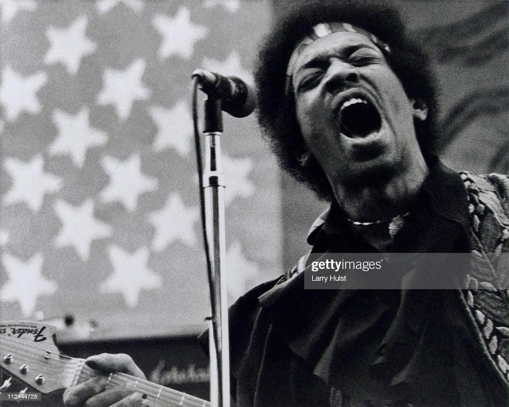 Jimi Hendrix performs at Golden Bear raceway in Sacramento California on April 26 1970