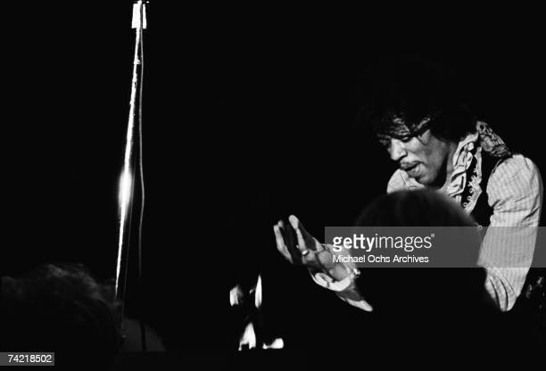 Jimi Hendrix sets his guitar on fire on stage at the Monterey Pop Festival on June 18 1967 in Monterey California