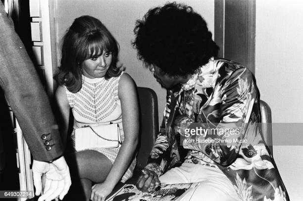 Jimi Hendrix speaking to Lulu at Melody Maker Pop Poll Awards Reception Party September 16th 1967