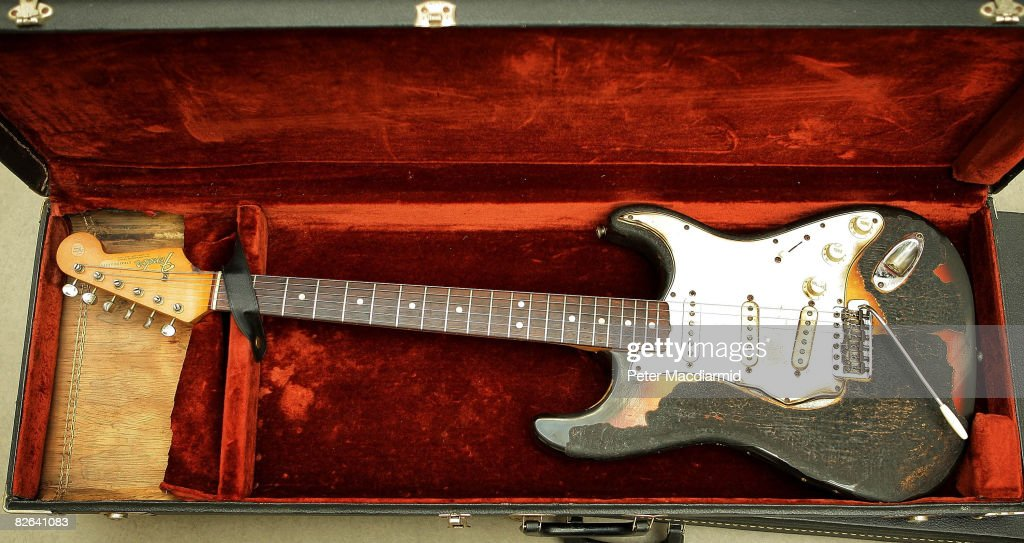 Jimi Hendrix's 1965 Fender Stratocaster guitar shows it's burn marks at the Idea Generation Gallery on September 3 2008 in London The gallery will...