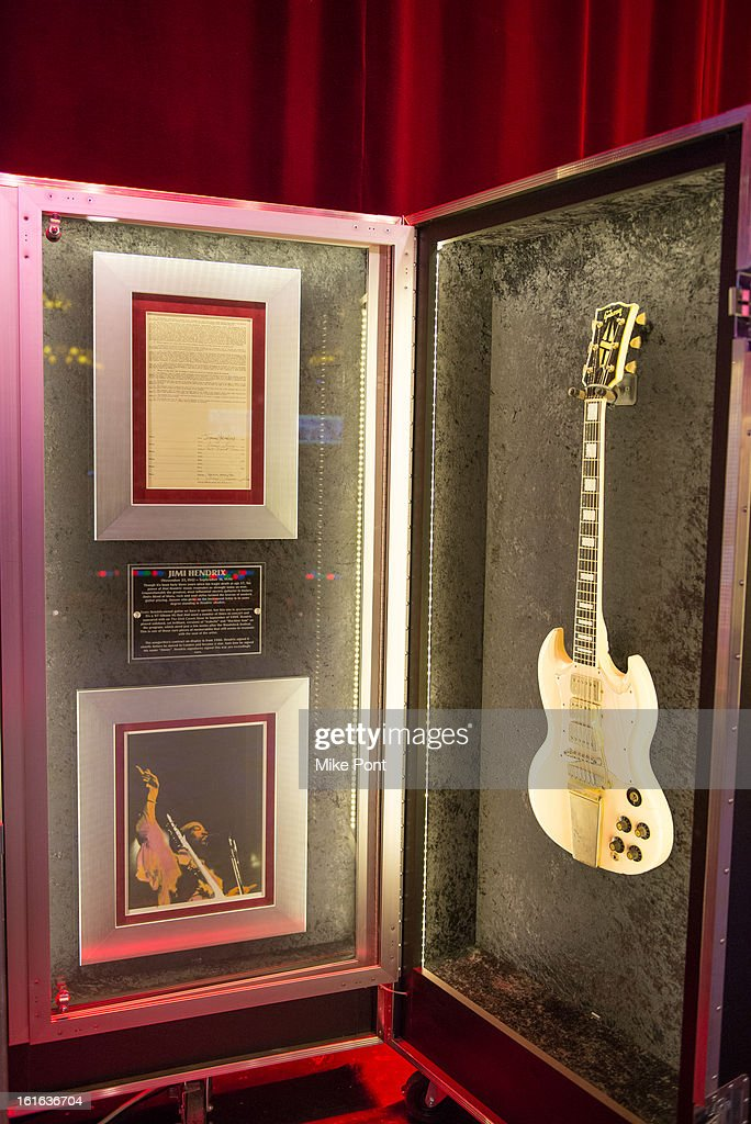 Jimi Hendrix's 1967 Gibson SG Custom on display at Hard Rock's 'Gone Too Soon' and 'Music Gives Back' Media Preview Day at Hard Rock Cafe New York on February 13, 2013 in New York City.
