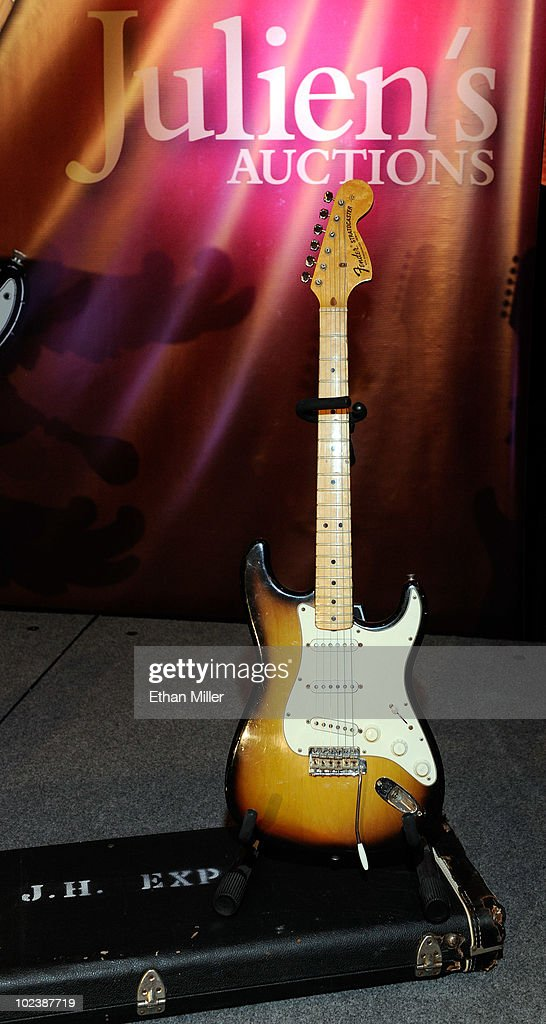 Jimi Hendrix's Fender Stratocaster guitar is displayed at Julien's Auctions annual summer sale at the Planet Hollywood Resort & Casino June 24, 2010 in Las Vegas, Nevada. The auction, which continues through Sunday, features 1,600 items from entertainers including Michael Jackson, Anna Nicole Smith, Marilyn Monroe, Cher, Elvis Presley and Star Trek creator Gene Roddenberry.