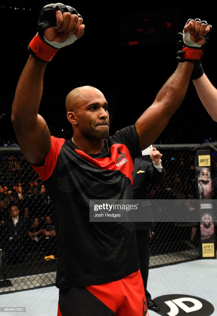 Jimi Manuwa of England celebrates his knockout victory over Corey Anderson in their light heavyweight fight during the UFC Fight Night event at The O2 arena on March 18, 2017 in London, England.