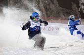 Jimi Salonen of Finland competes during the men's dual moguls at the FIS Freestyle Ski World Cup season opener in Ruka Kuusamo Finland on December 13...