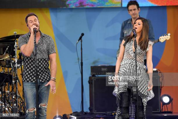 Jimi Westbrook and Karen Fairchild of Little Big Town perform onstage on ABC's 'Good Morning America' at Rumsey Playfield Central Park on June 23...