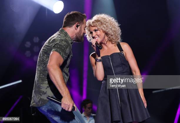 Jimi Westbrook and Kimberly Schlapman of Little Big Town perform during day 4 of the 2017 CMA Music Festival on June 11 2017 in Nashville Tennessee