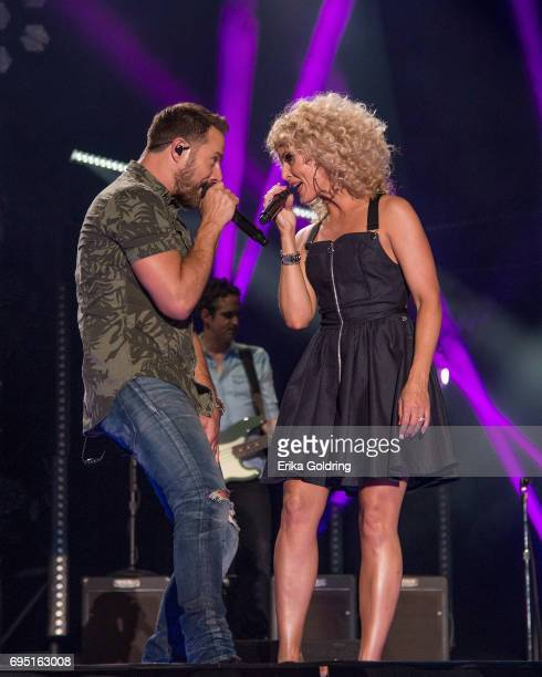 Jimi Westbrook and Kimberly Schlapman of Little Big Town perform during the 2017 CMA Music Festival on June 11 2017 in Nashville Tennessee