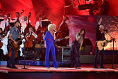 Jimi Westbrook Karen Fairchild Kimberly Schlapman and Philip Sweet of Little Big Town perform at the Boston Pops Fireworks Spectacular rehearsal at...