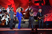 Jimi Westbrook Karen Fairchild Kimberly Schlapman and Philip Sweet of Little Big Town perform at the Boston Pops Fireworks Spectacular at the DCR...