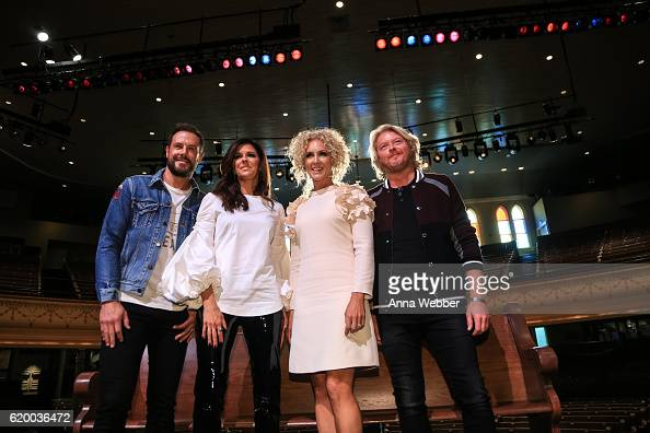 Jimi Westbrook Karen Fairchild Kimberly Schlapman and Philip Sweet of Little Big Town attend Little Big Town Press Conference at the Ryman Auditorium...