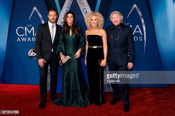 Jimi Westbrook Karen Fairchild Kimberly Schlapman and Philip Sweet of Little Big Town attend the 51st annual CMA Awards at the Bridgestone Arena on...