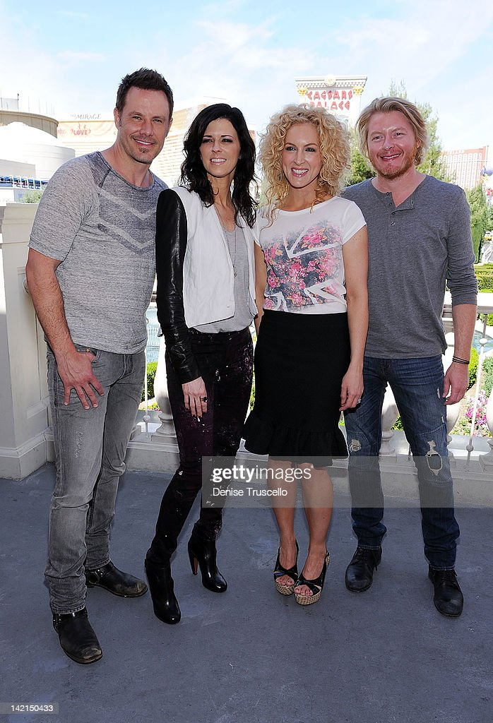 Jimi Westbrook, Karen Fairchild, Kimberly Schlapman and Phillip Sweet of Little Big Town pose at Serendipity 3 on March 30, 2012 in Las Vegas, Nevada.