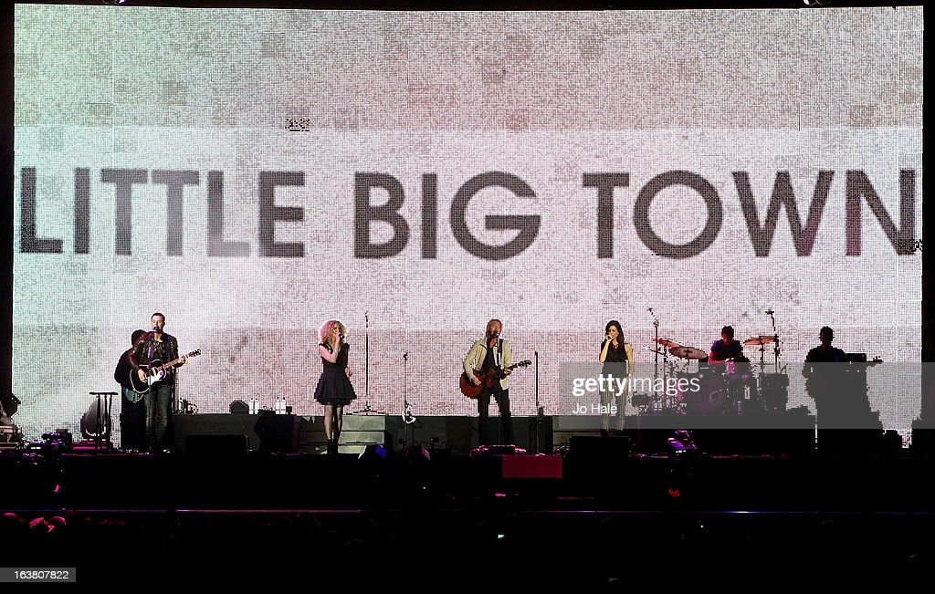 Jimi Westbrook, Karen Fairchild, Phillip Sweet and Kimberly Schlapman of Little Big Town perform on stage on Day 1 of C2C: Country To Country Festival 2013 at O2 Arena on March 16, 2013 in London, England.