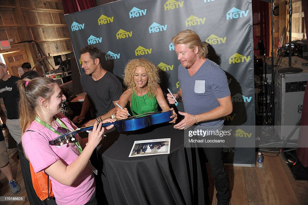 Jimi Westbrook, Kimberly Schlapman, and Philip Sweet of Little Big Town attend HGTV'S The Lodge At CMA Music Fest - Day 3 on June 8, 2013 in Nashville, Tennessee.