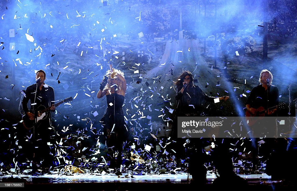 Jimi Westbrook, Kimberly Schlapman, Karen Fairchild, and Philip Sweet of Little Big Town perform onstage during the 2012 American Country Awards at the Mandalay Bay Events Center on December 10, 2012 in Las Vegas, Nevada.