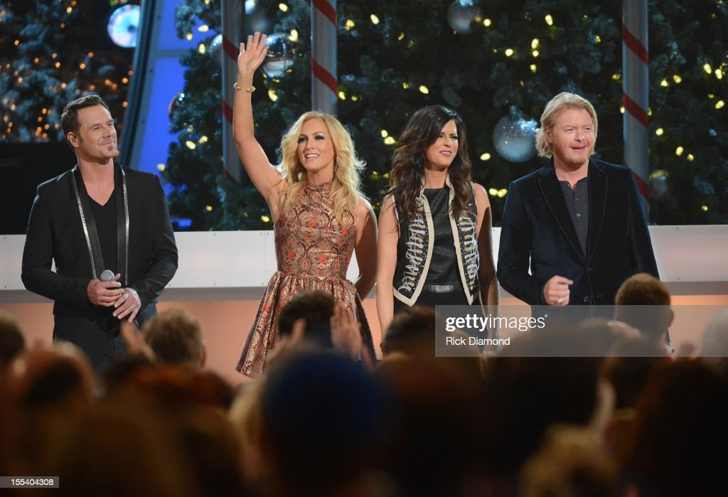 Jimi Westbrook, Kimberly Schlapman, Karen Fairchild and Phillip Sweet of Little Big Town perform during the 2012 Country Christmas concert on November 3, 2012 at the Bridgestone Arena in Nashville, Tennessee. The special airs Thursday, December 20 from 9:00-11:00 p.m., ET on the ABC Television Network.