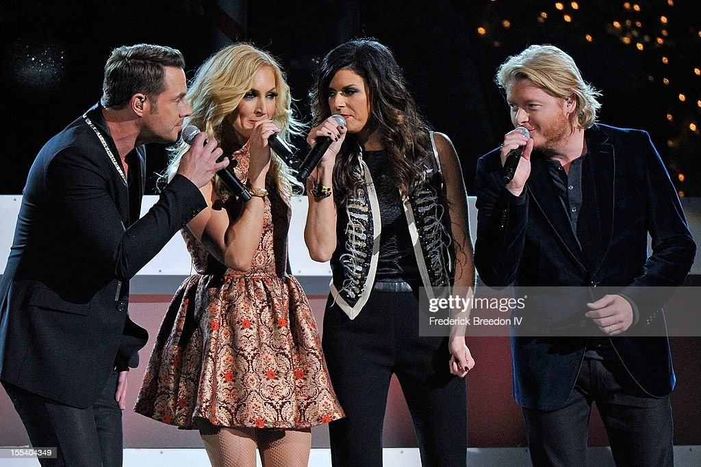 Jimi Westbrook, Kimberly Schlapman, Karen Fairchild, and Phillip Sweet of Little Big Town perform during the 2012 Country Christmas at the Bridgestone Arena on November 3, 2012 in Nashville, United States.