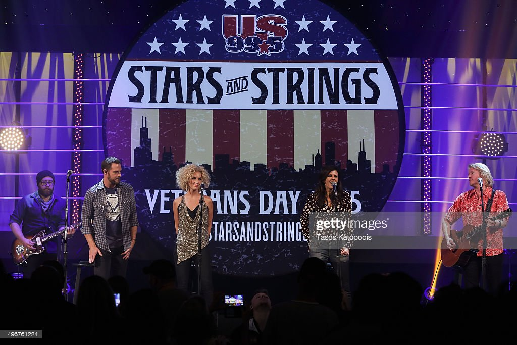 Jimi Westbrook Kimberly Schlapman Karen Fairchild and Phillip Sweet of Little Big Town perform during the CBS Radio Presents Stars Strings on...