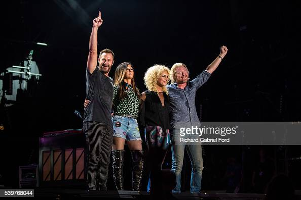 Jimi Westbrook Kimberly Schlapman Karen Fairchild and Phillip Sweet of Little Big Town perform during the 2016 CMA Music Festival at Nissan Stadium...