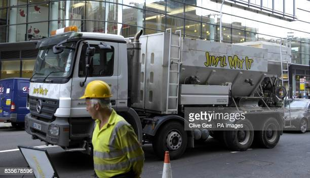 A 'Jim'll Mix It' cement mixing lorry in central London