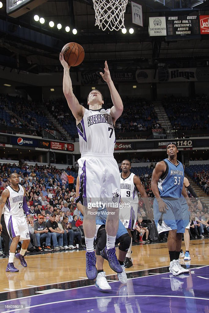 Jimmer Frededtte #7 of the Sacramento Kings shoots the ball against the Miinnesota Timberwolves on March 21, 2013 at Sleep Train Arena in Sacramento, California.