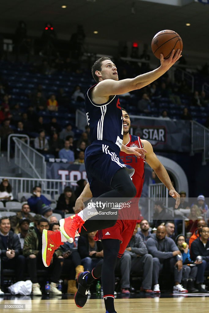 <a gi-track='captionPersonalityLinkClicked' href=/galleries/search?phrase=Jimmer+Fredette&family=editorial&specificpeople=5020564 ng-click='$event.stopPropagation()'>Jimmer Fredette</a> #16 of the East drives to the basket against the West during the NBA D-League All-Star Game 2016 presented by Kumho Tire as part of 2016 All-Star Weekend at the Ricoh Coliseum on February 13, 2016 in Toronto, Ontario, Canada.