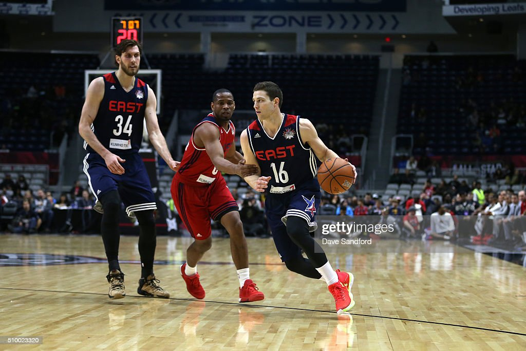 <a gi-track='captionPersonalityLinkClicked' href=/galleries/search?phrase=Jimmer+Fredette&family=editorial&specificpeople=5020564 ng-click='$event.stopPropagation()'>Jimmer Fredette</a> #16 of the East handles the ball against the West during the NBA D-League All-Star Game 2016 presented by Kumho Tire as part of 2016 All-Star Weekend at the Ricoh Coliseum on February 13, 2016 in Toronto, Ontario, Canada.