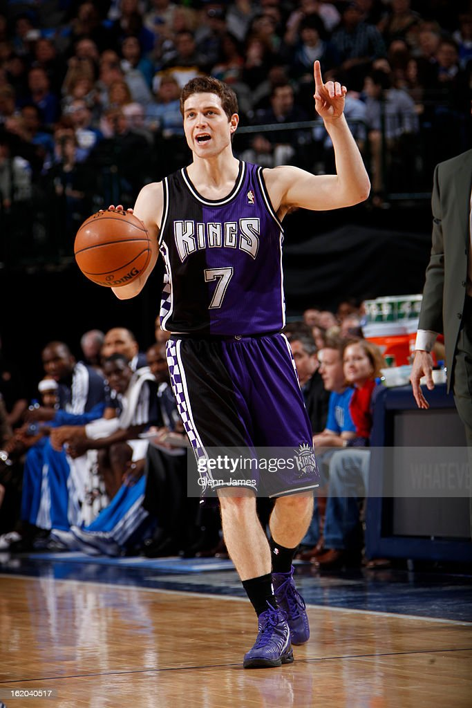 <a gi-track='captionPersonalityLinkClicked' href=/galleries/search?phrase=Jimmer+Fredette&family=editorial&specificpeople=5020564 ng-click='$event.stopPropagation()'>Jimmer Fredette</a> #7 of the Sacramento Kings brings the ball up court against the Dallas Mavericks on February 13, 2013 at the American Airlines Center in Dallas, Texas.