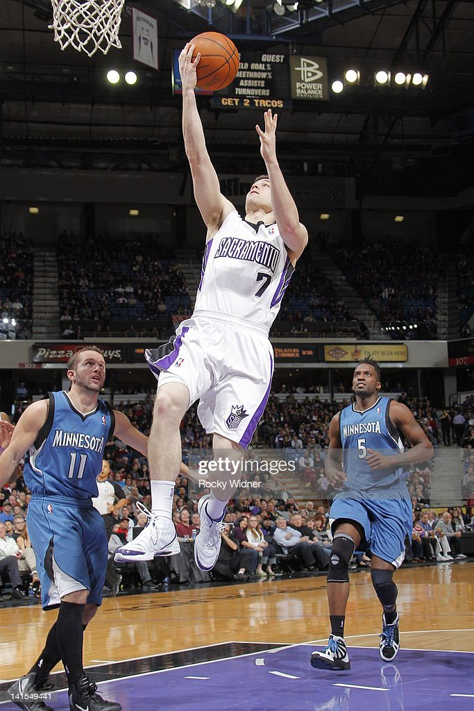 <a gi-track='captionPersonalityLinkClicked' href=/galleries/search?phrase=Jimmer+Fredette&family=editorial&specificpeople=5020564 ng-click='$event.stopPropagation()'>Jimmer Fredette</a> #7 of the Sacramento Kings shoots the ball against the Minnesota Timberwolves on March 18, 2012 at Power Balance Pavilion in Sacramento, California.