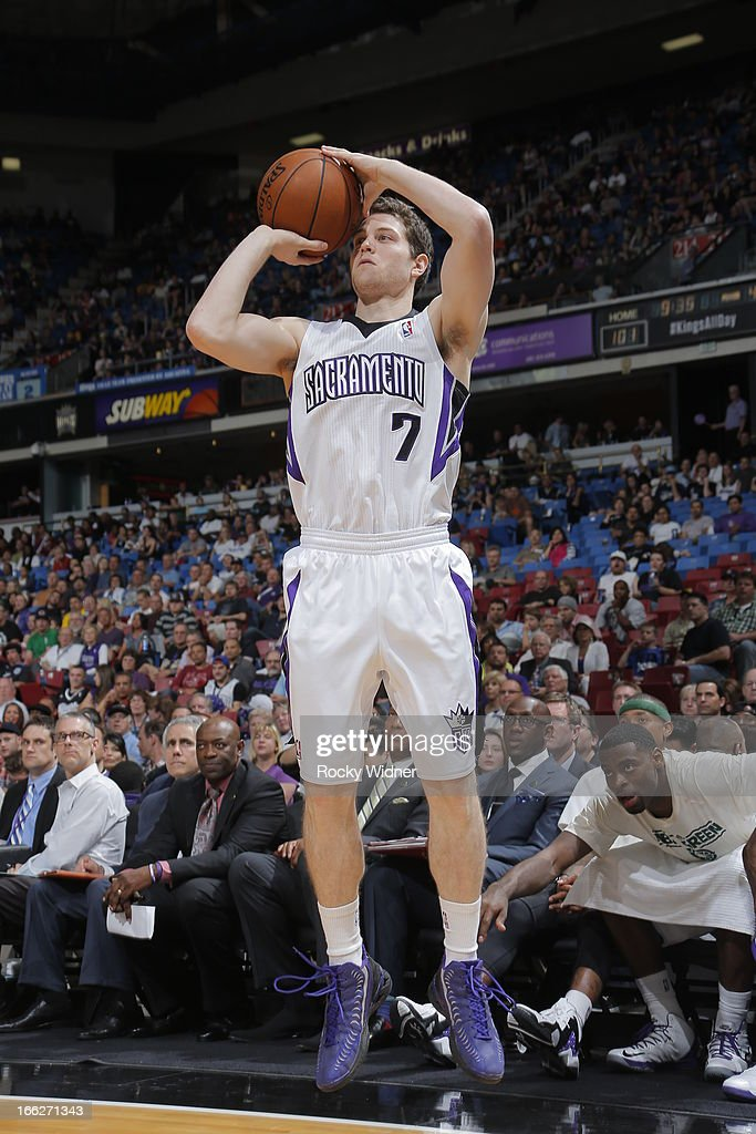 Jimmer Fredette #7 of the Sacramento Kings shoots the ball against the New Orleans Hornets on April 10, 2013 at Sleep Train Arena in Sacramento, California.