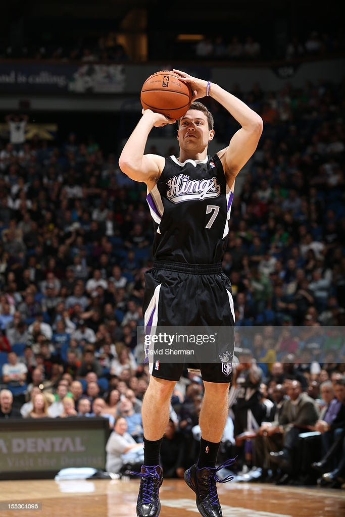 Jimmer Fredette #7 of the Sacramento Kings takes a jump shot against Minnesota Timberwolves during the season opening game on November 2, 2012 at Target Center in Minneapolis, Minnesota.