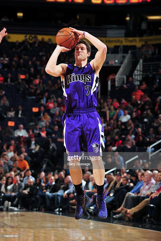 <a gi-track='captionPersonalityLinkClicked' href=/galleries/search?phrase=Jimmer+Fredette&family=editorial&specificpeople=5020564 ng-click='$event.stopPropagation()'>Jimmer Fredette</a> #7 of the Sacramento Kings takes a shot against the Phoenix Suns on December 17, 2012 at U.S. Airways Center in Phoenix, Arizona.