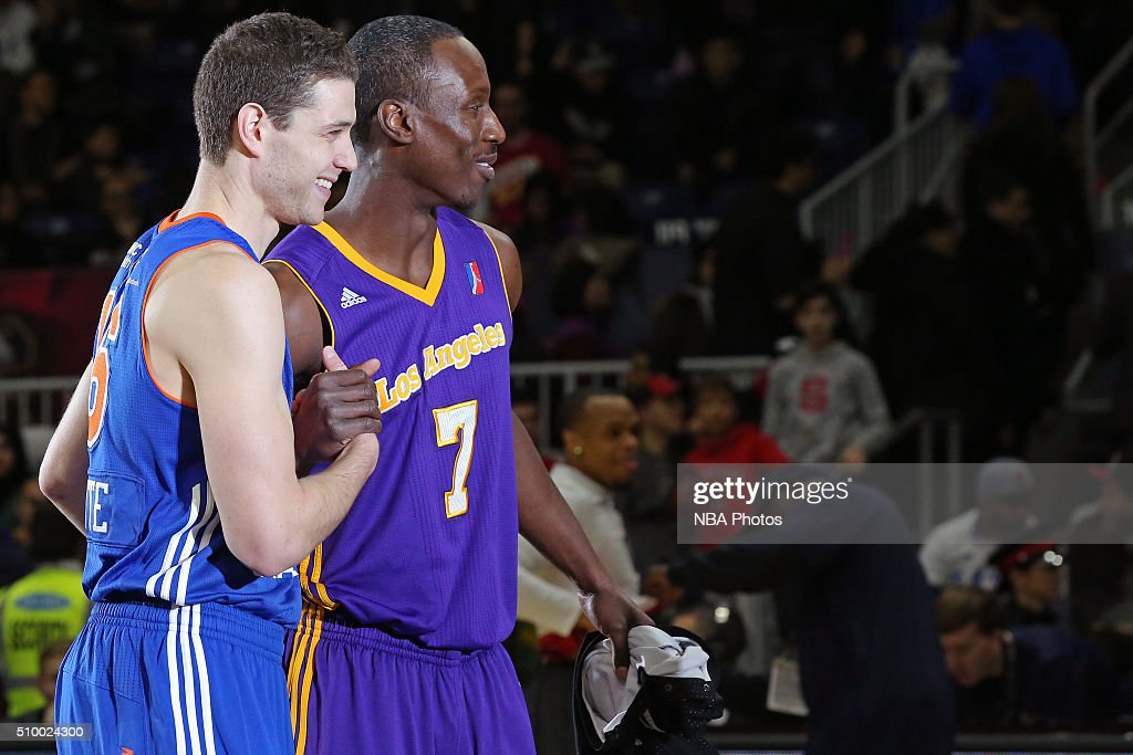 <a gi-track='captionPersonalityLinkClicked' href=/galleries/search?phrase=Jimmer+Fredette&family=editorial&specificpeople=5020564 ng-click='$event.stopPropagation()'>Jimmer Fredette</a> #16 of the Westchester Knicks and Andre Ingram #7 of the Los Angeles D-Fenders participate in the NBA D-League All-Star 3 Point Contest, presented by Kumho Tire, as part of 2016 All-Star Weekend at the Ricoh Coliseum on February 13, 2016 in Toronto, Ontario, Canada.