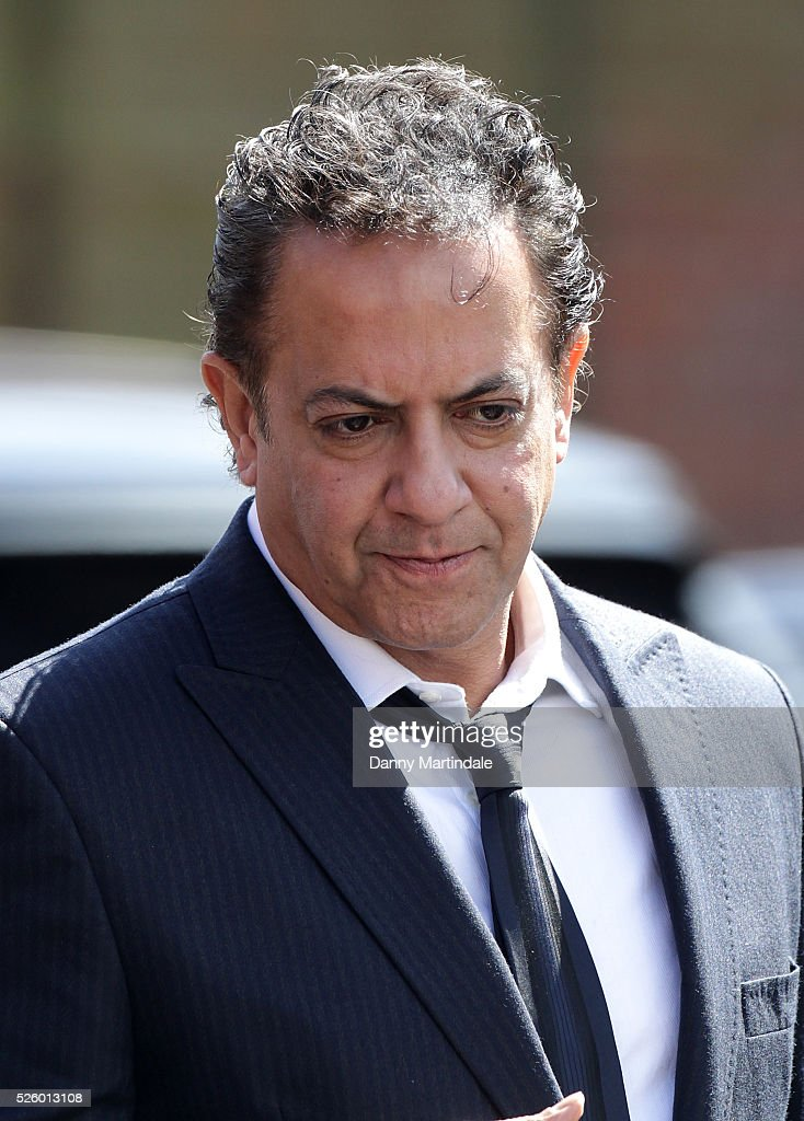 Jimmi Harkishin attends the funeral of entertainer, producer and reality television star David Gest at Golders Green Crematorium on April 29, 2016 in London, England.