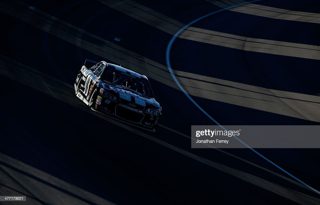 Jimmie Johnson, driver of the #48 Kobalt Tools Chevrolet, drives during qualifying for the NASCAR Sprint Cup Series Kobalt 400 at Las Vegas Motor Speedway on March 7, 2014 in Las Vegas, Nevada.
