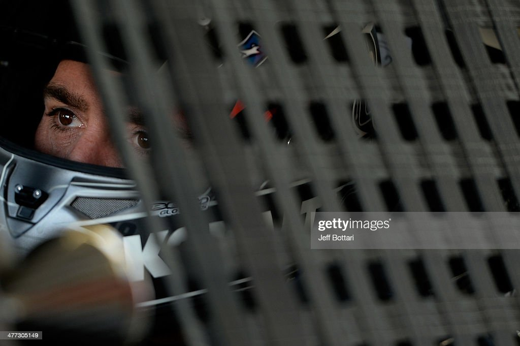 Jimmie Johnson, driver of the #48 Kobalt Tools Chevrolet, sits in his car during practice for the NASCAR Sprint Cup Series Kobalt 400 at Las Vegas Motor Speedway on March 8, 2014 in Las Vegas, Nevada.