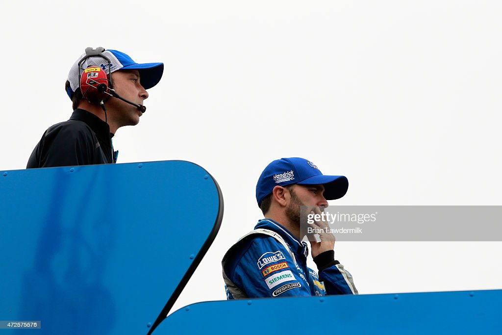 <a gi-track='captionPersonalityLinkClicked' href=/galleries/search?phrase=Jimmie+Johnson+-+Nascar+racerf%C3%B6rare&family=editorial&specificpeople=171519 ng-click='$event.stopPropagation()'>Jimmie Johnson</a>, driver of the #48 Lowe's Chevrolet, and crew chief <a gi-track='captionPersonalityLinkClicked' href=/galleries/search?phrase=Chad+Knaus&family=editorial&specificpeople=564401 ng-click='$event.stopPropagation()'>Chad Knaus</a> stand on top of their hauler during practice for the NASCAR Sprint Cup Series SpongeBob SquarePants 400 at Kansas Speedway on May 8, 2015 in Kansas City, Kansas.