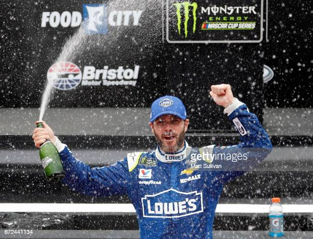 Jimmie Johnson driver of the Lowe's Chevrolet celebrates after winning the Monster Energy NASCAR Cup Series Food City 500 at Bristol Motor Speedway...