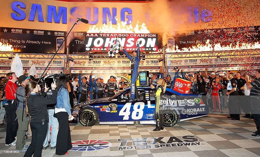 <a gi-track='captionPersonalityLinkClicked' href=/galleries/search?phrase=Jimmie+Johnson+-+Nascar+Race+Driver&family=editorial&specificpeople=171519 ng-click='$event.stopPropagation()'>Jimmie Johnson</a>, driver of the #48 Lowe's Chevrolet, celebrates in Victory Lane after winning the NASCAR Sprint Cup Series AAA Texas 500 at Texas Motor Speedway on November 4, 2012 in Fort Worth, Texas.