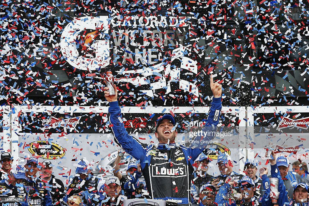 Jimmie Johnson, driver of the #48 Lowe's Chevrolet, celebrates in victory lane after winning the NASCAR Sprint Cup Series Daytona 500 at Daytona International Speedway on February 24, 2013 in Daytona Beach, Florida.