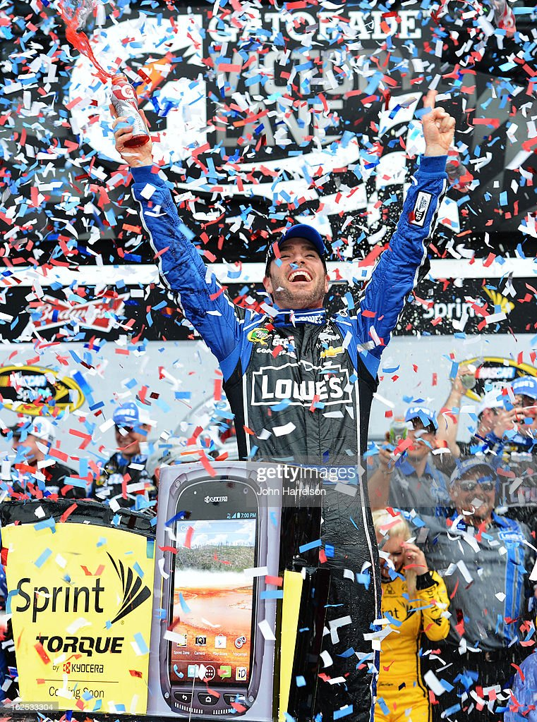<a gi-track='captionPersonalityLinkClicked' href=/galleries/search?phrase=Jimmie+Johnson+-+Nascar+Race+Driver&family=editorial&specificpeople=171519 ng-click='$event.stopPropagation()'>Jimmie Johnson</a>, driver of the #48 Lowe's Chevrolet, celebrates in victory lane after winning the NASCAR Sprint Cup Series Daytona 500 at Daytona International Speedway on February 24, 2013 in Daytona Beach, Florida.