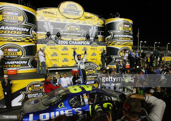 Jimmie Johnson driver of the Lowe's Chevrolet celebrates winning the 2006 NASCAR Nextel Cup Championship following the NASCAR Nextel Cup Series Ford...