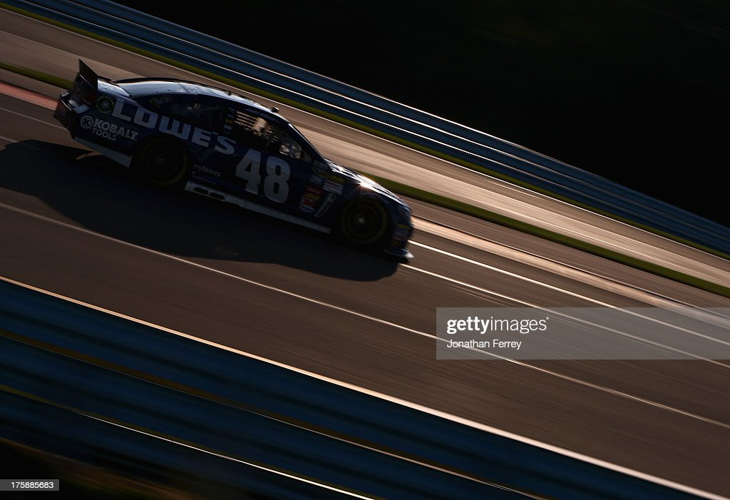 <a gi-track='captionPersonalityLinkClicked' href=/galleries/search?phrase=Jimmie+Johnson+-+Nascar+Race+Driver&family=editorial&specificpeople=171519 ng-click='$event.stopPropagation()'>Jimmie Johnson</a>, driver of the #48 Lowe's Chevrolet, drives during practice for the NASCAR Sprint Cup Series Cheez-It 355 at Watkins Glen International on August 9, 2013 in Watkins Glen, New York.