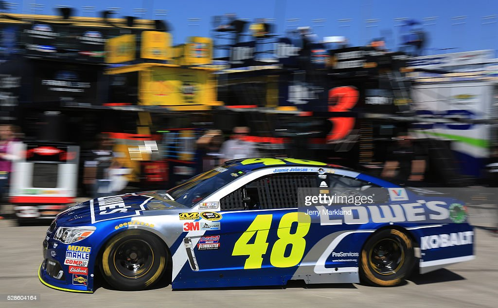 Jimmie Johnson, driver of the #48 Lowe's Chevrolet, drives during practice for the NASCAR Sprint Cup Series Go Bowling 400 at Kansas Speedway on May 6, 2016 in Kansas City, Kansas.
