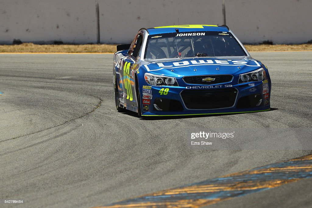 <a gi-track='captionPersonalityLinkClicked' href=/galleries/search?phrase=Jimmie+Johnson+-+Nascar+Race+Driver&family=editorial&specificpeople=171519 ng-click='$event.stopPropagation()'>Jimmie Johnson</a>, driver of the #48 Lowe's Chevrolet, drives during practice for the NASCAR Sprint Cup Series Toyota/Save Mart 350 at Sonoma Raceway on June 24, 2016 in Sonoma, California.