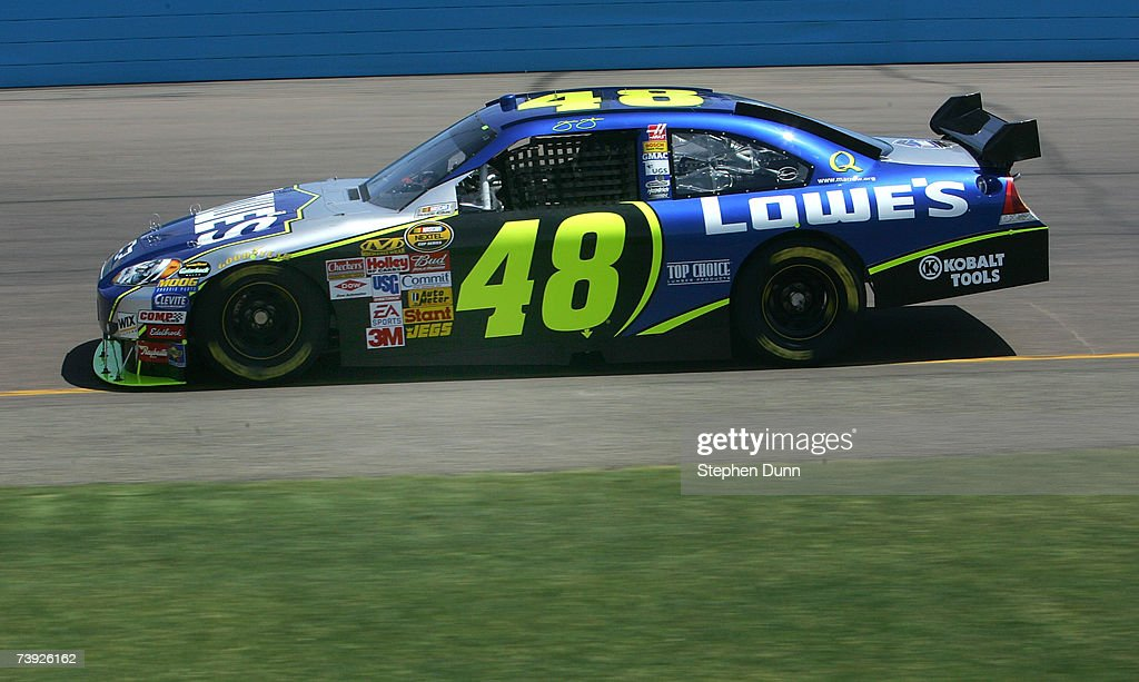 Jimmie Johnson driver of the Lowe's Chevrolet drives during practice for the NASCAR Nextel Cup Series Subway Fresh Fit 500 at Phoenix International...